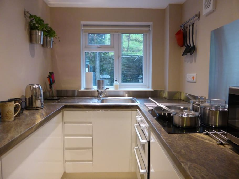 The brand new kitchen with induction hob.