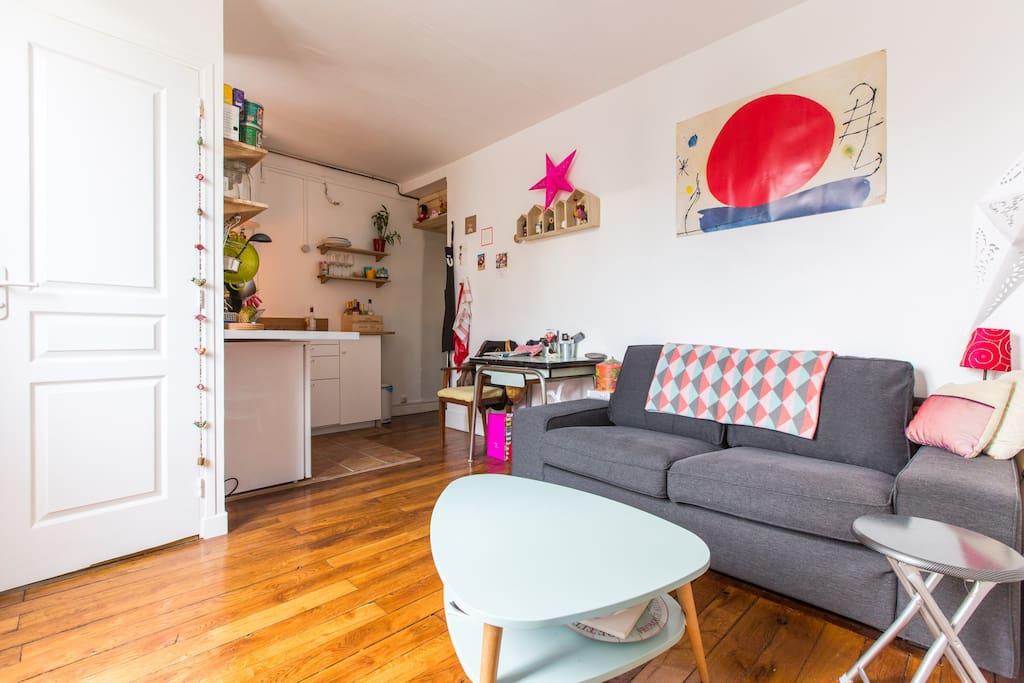 Living room + open kitchen