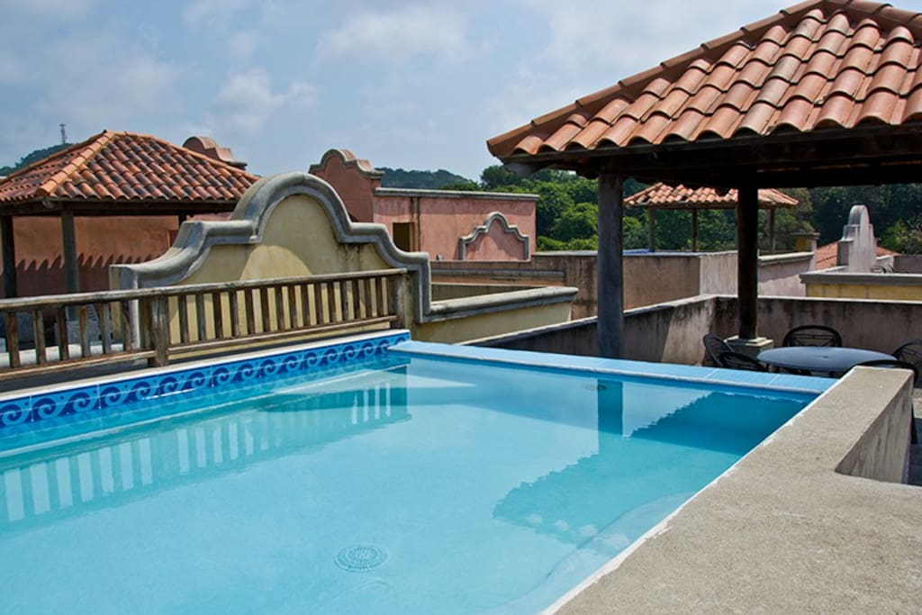 Roof top pool with grill and palapa.