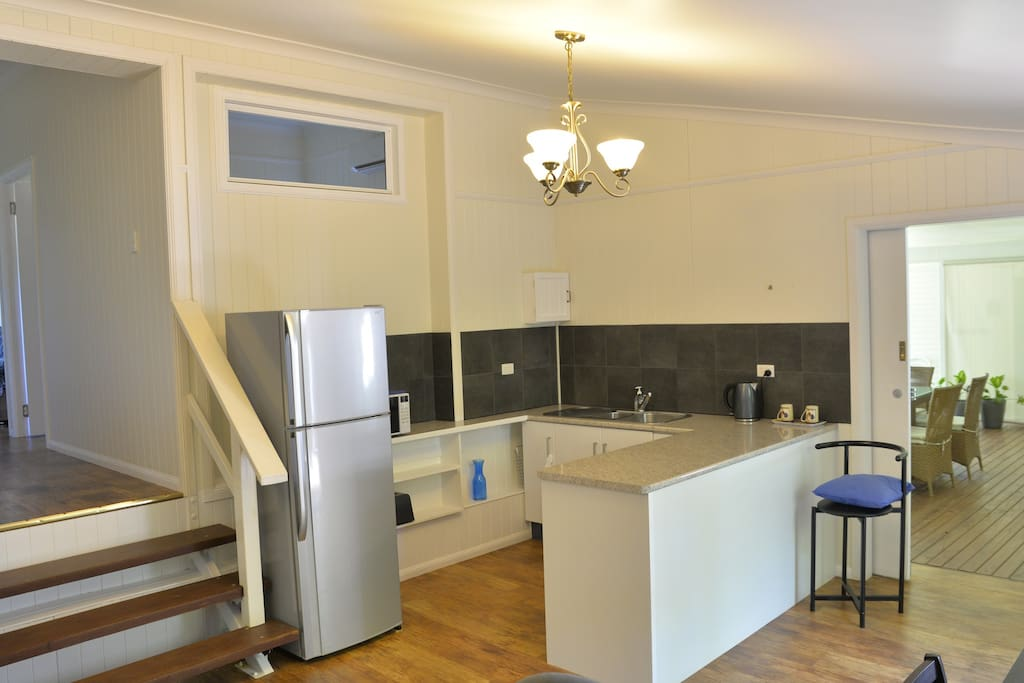 The kitchen opens onto huge deck