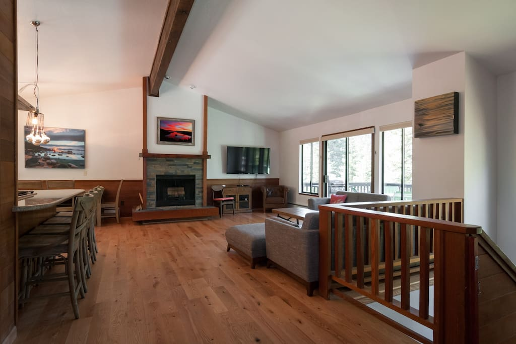 Open floor plan on second floor. Wood burning fire place, kitchen, living area and deck off master bedroom and bedroom two