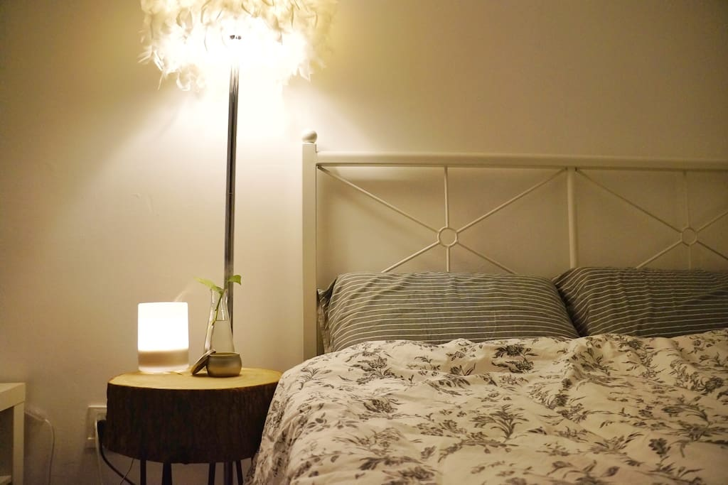 【主卧】这里是给你的房间,有一张宜家的1.5x2m双人床,床垫软硬适用。