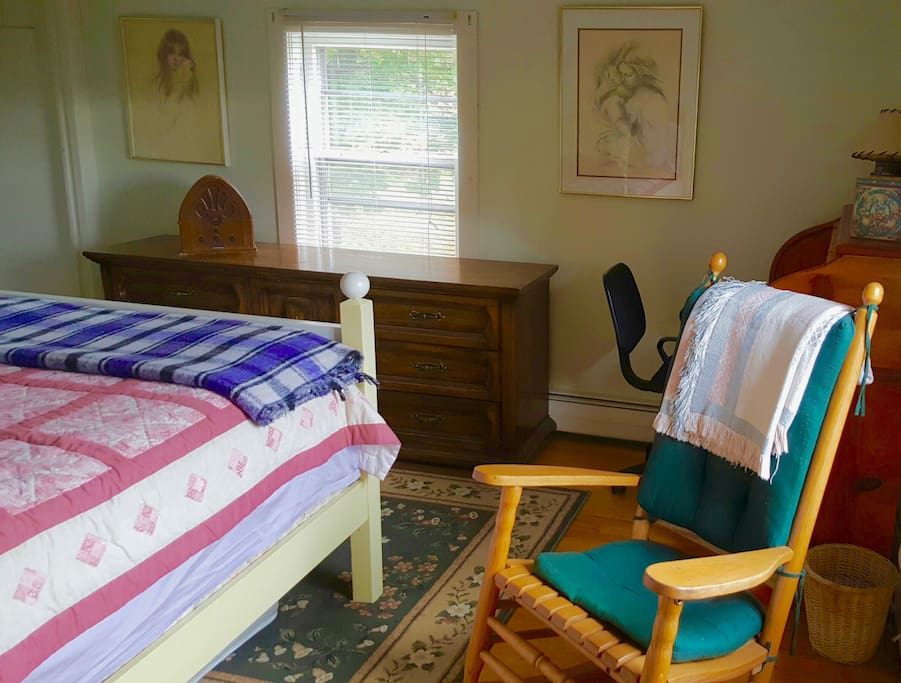 bright, homey room with lots of storage