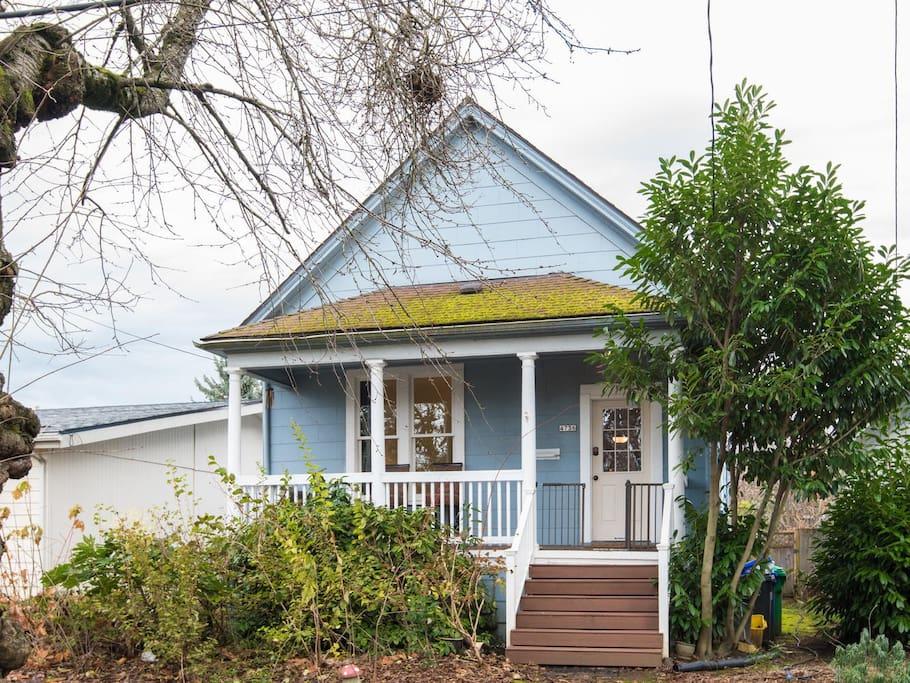 Cute little house across from a park