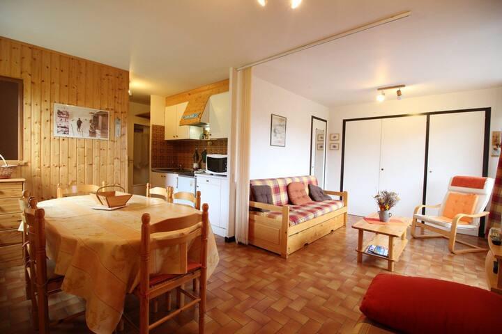 Studio 6pers : avec cabine, lit double, sur les pistes