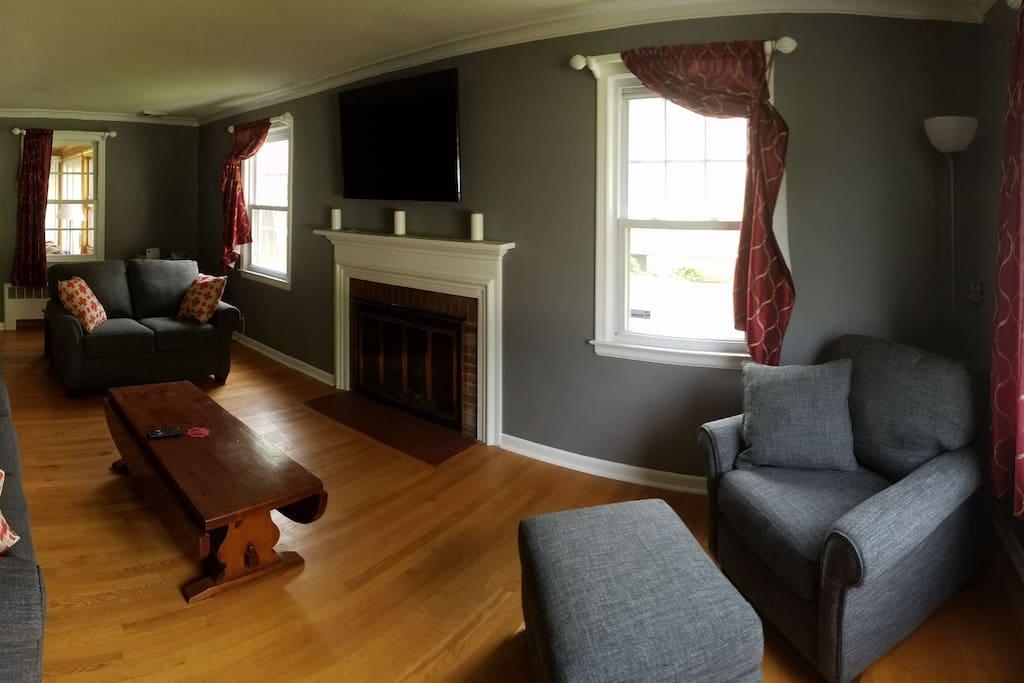 """Living room: 50"""" TV with Chromecast"""
