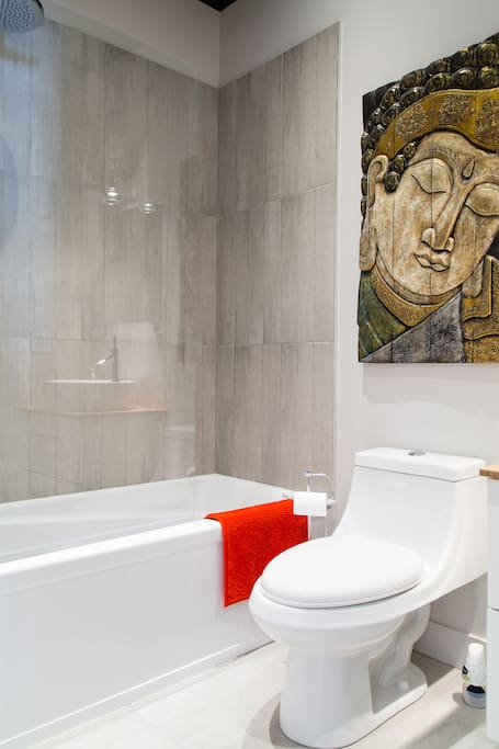 BRAND NEW WASHROOM WITH COMFY BATHTUB & RAIN SHOWER IN ASIAN ZEN STYLE