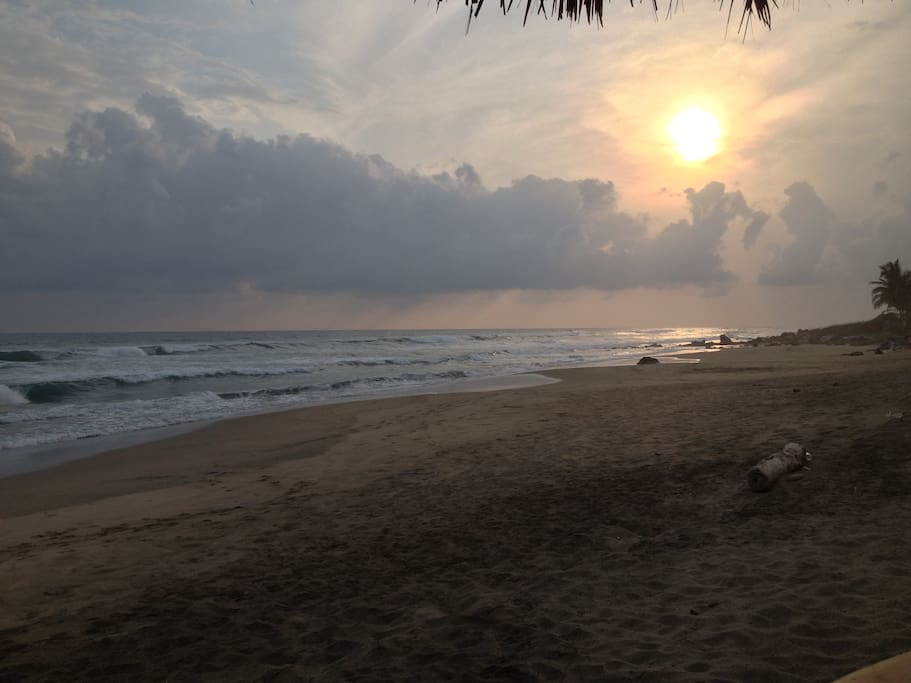 Sunset on the beach in front of Casa Canela