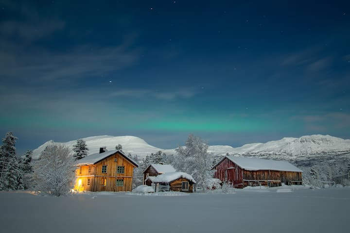 Log-cottage & Northern lights at the Huskyfarm