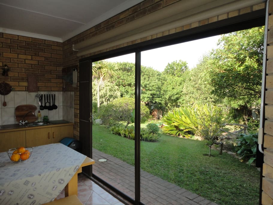 View from living area into garden