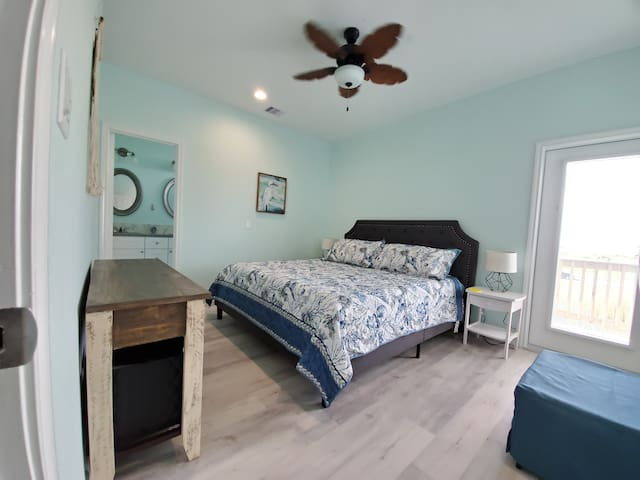 Bedroom 2 with access to Master bathroom (Bathroom 1)-King sized bed and twin hide a bed ottoman