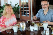 Ulla and Jukka passed through from Finland and stayed with us.  Fantastic people!  Here they are eating breakfast on our upper veranda.