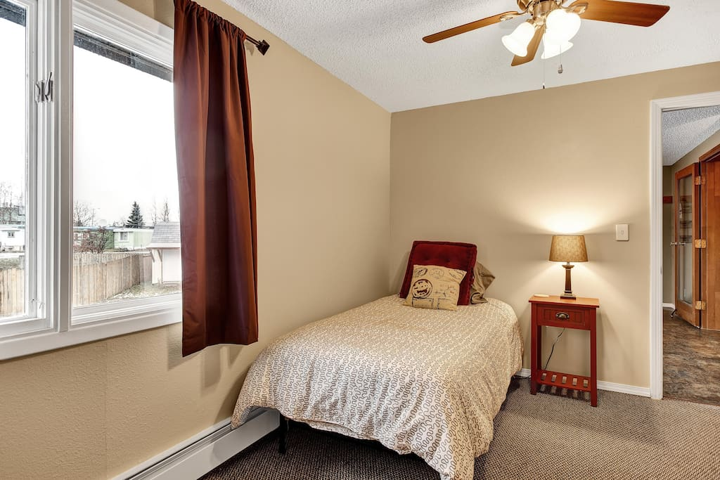 Twin Bed with Lamp