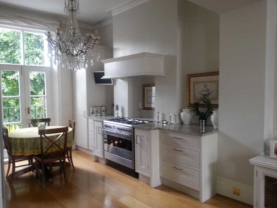 kitchen and dining room ... dining room table can extend to accommodate 5 people