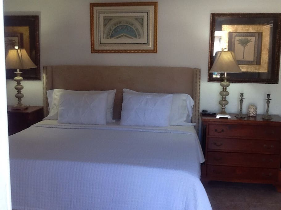 Inside the room,a beautiful king size bed
