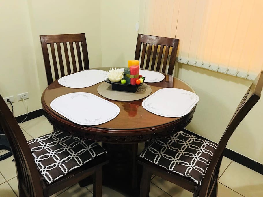 This is the dining set (4 chairs) guests can request extra chair upon check in if needed..