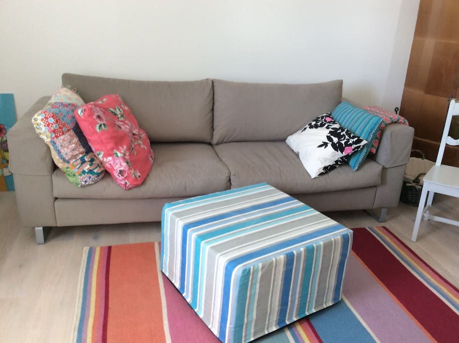 Everything you need to relax after a busy day. Sofa can be turned to a bed for one person.
