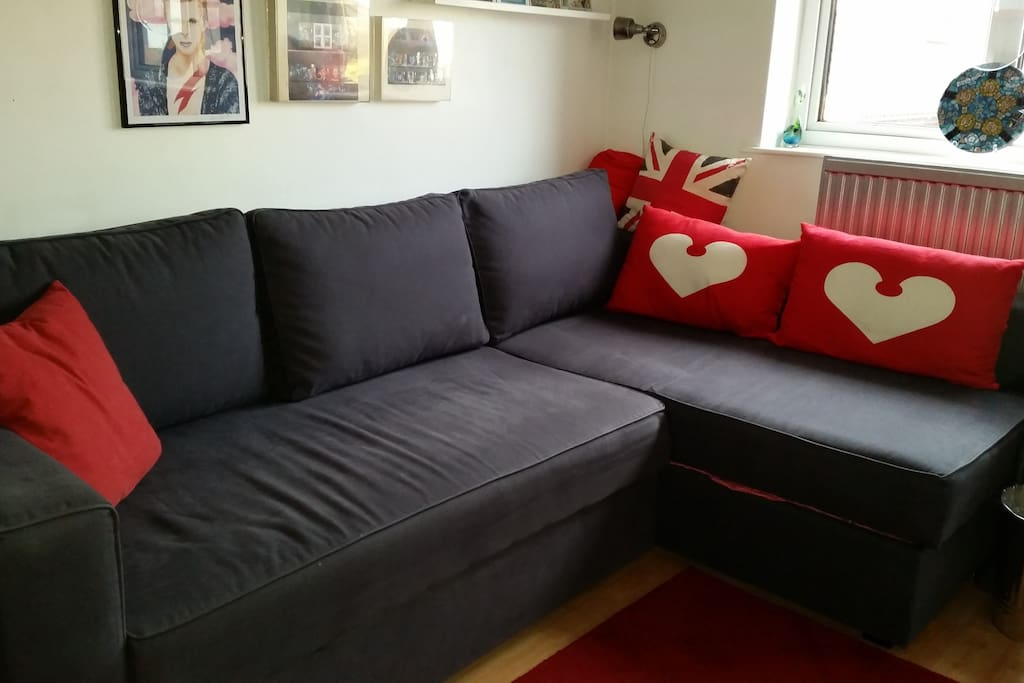 Cushions remove to make a comfy single bed.