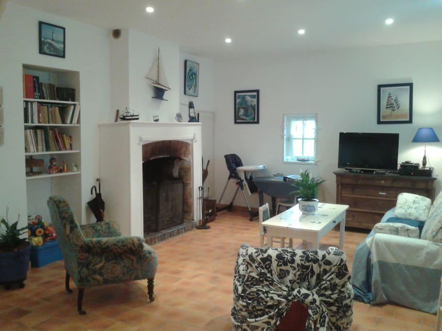 grand séjour avec cheminée et canapé-lit,écran plat,bibliothèque