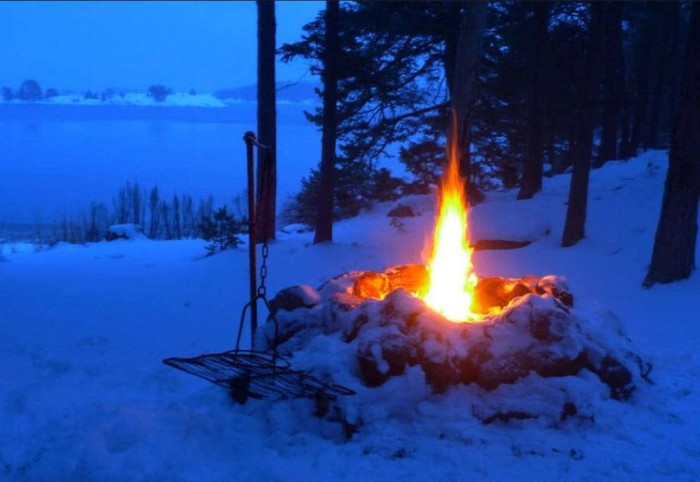 Build a fire after snowshoeing or cross country skiing along the riverbank behind our house.