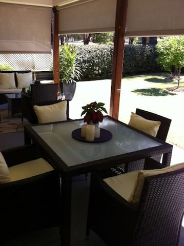 Relax in our private garden with direct access to the golf course.