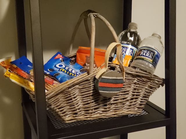 Welcome basket with snacks and bottled water! We know traveling can be tough- settle in and relax!
