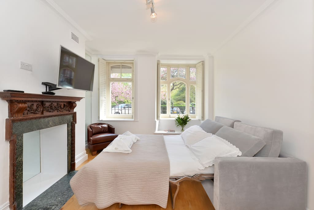 The living room with the very comfortable Double bed and armchair