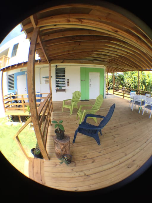 This is the entrance to the deck/common area where our studio apartments are located, Studio Azul and Studio Verde.