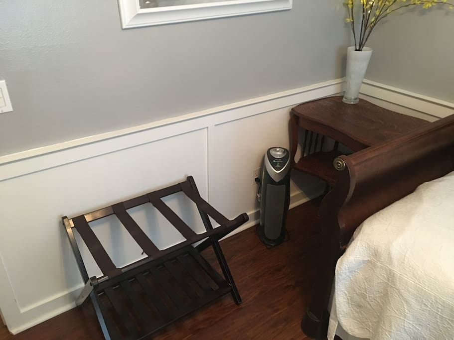 Room has a powerful Air Cleaning System with True HEPA Filter, UV-C Sanitizer, Allergen and Odor Reduction.  Perfect for guests with allergies!  (Home additionally has no pets)