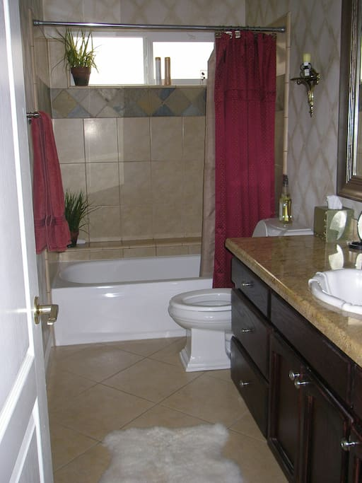 You share the downstairs full bathroom with your host, but you have prioity.