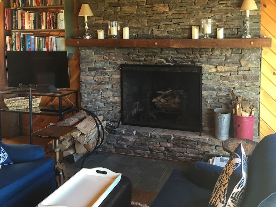 Stone Fireplace in Living Rm