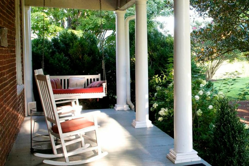 Sit, swing, and rock on the covered porch.