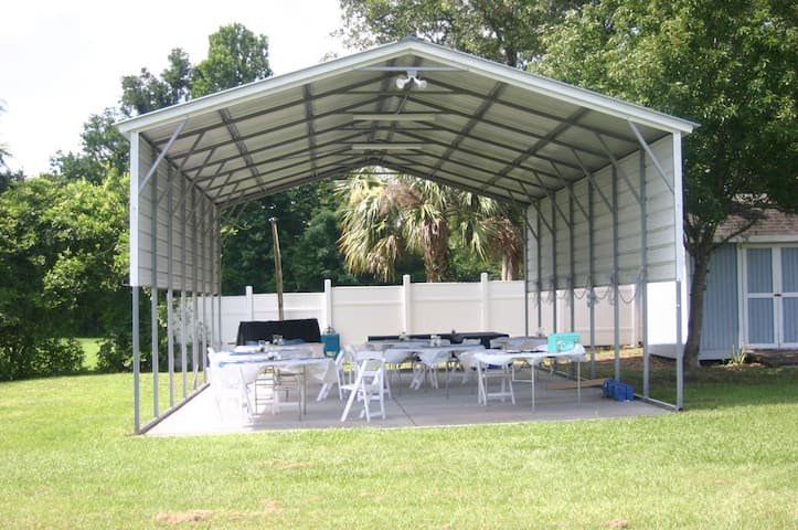 Double RV Cover: Dine, Dance, Lighted. Free Use During Events. Electrical and Water hook Ups