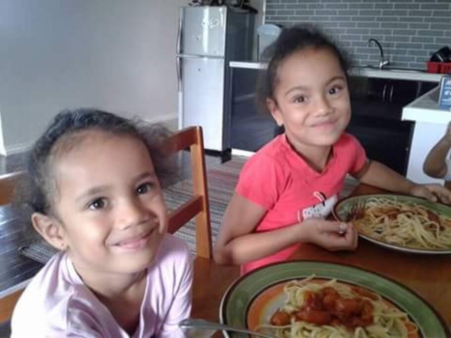 Sydney and Ethelwyn enjoying  their pasta lunch.
