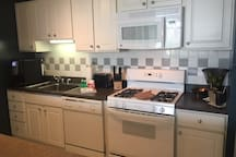 Full size fully equipped kitchen with Flavia coffeemaker.
