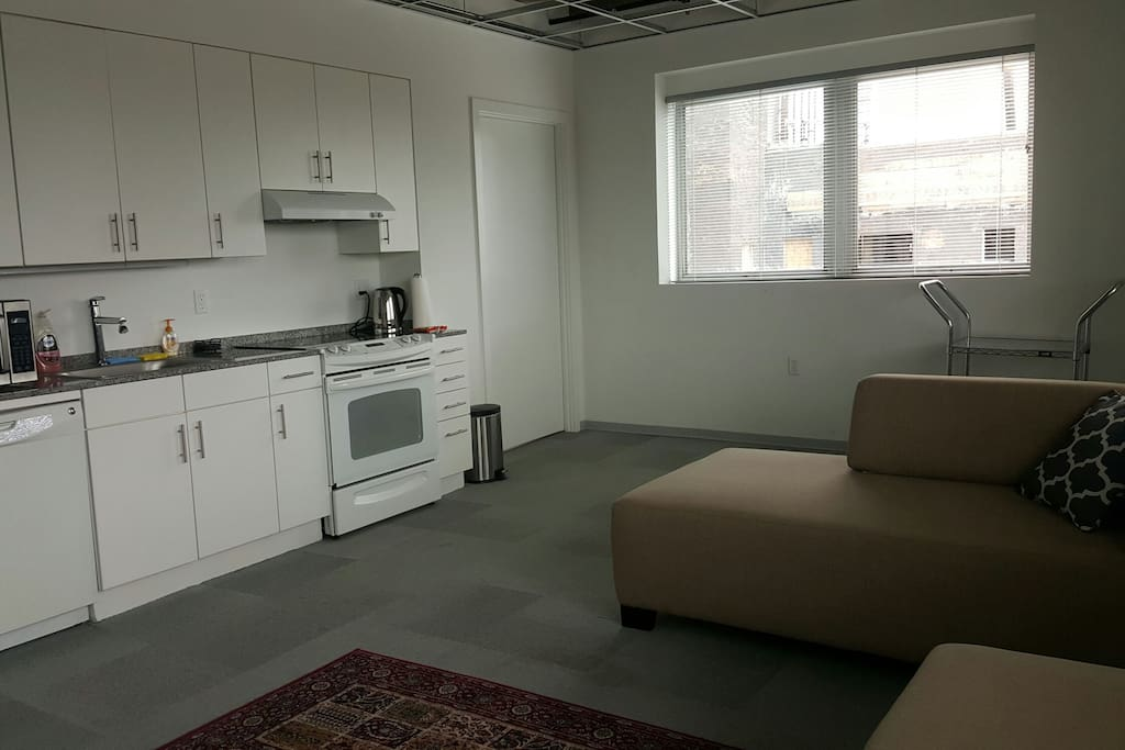 Spacious living room and kitchenette