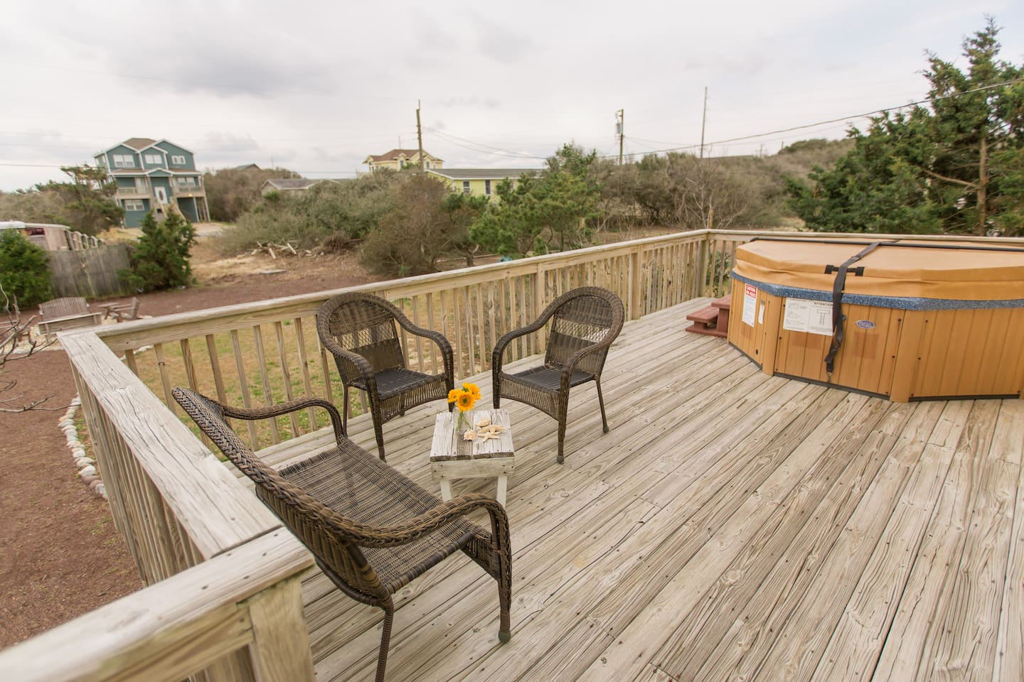 Back Deck, Hot Tub, and Fire Pit