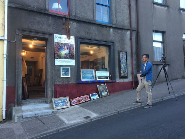 Art on the street and the front of  Coliemore the Artists House. Eric one of my fantastic guests from Airbnb.