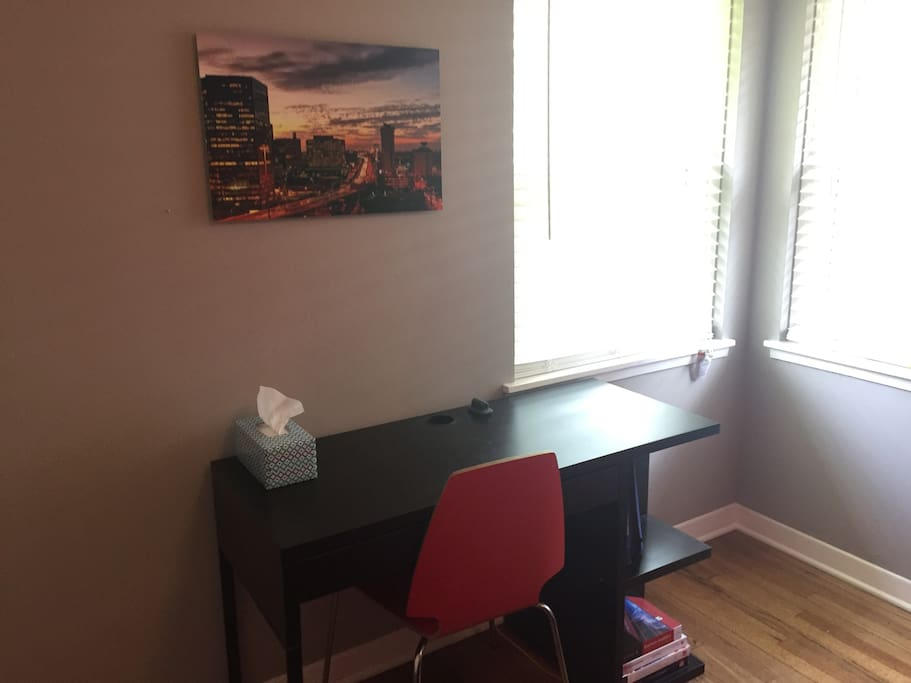Desk in the room so you can get some work done or plan your next adventure on the free wifi