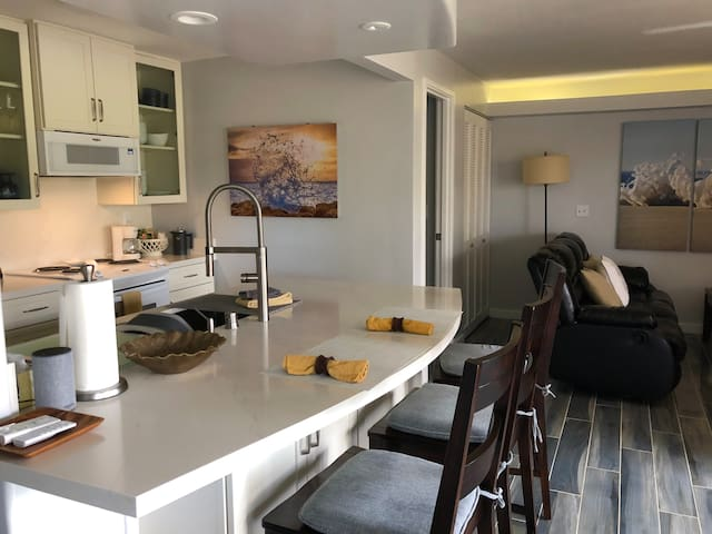 Completely remodeled Villa (2018) with complimentary access to Kauai Beach Resort, 5 pools/3 Jacuzzis, poolside happy hour bar! Stocked kitchen, 2 full bath, Cal King bed, sleeps 2 adults in A/C comfort, large lanai, ocean/lagoon/mountain views!