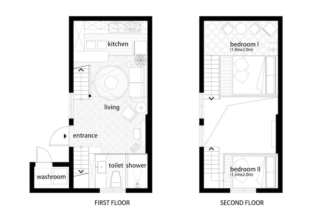 Plan房屋平面图,复式两层