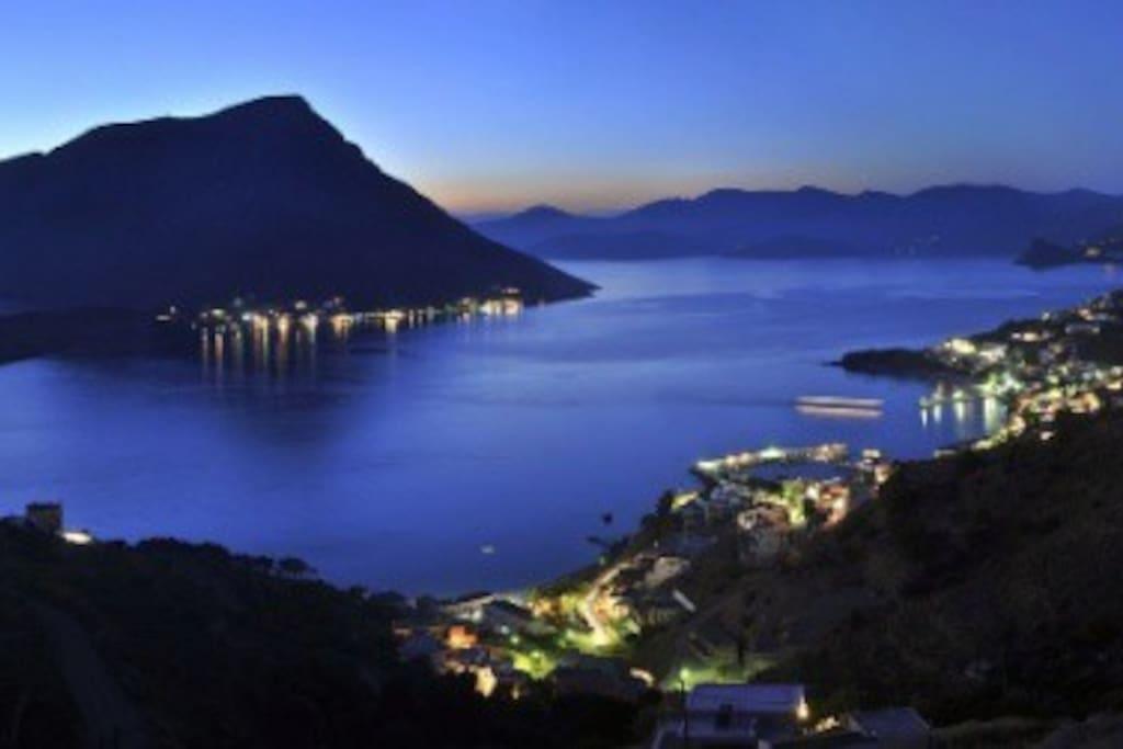 Night photo of Telendos from Kamari