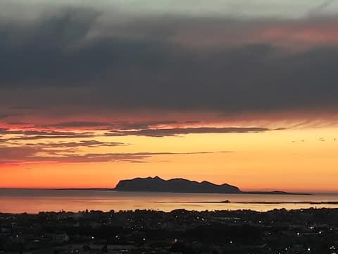 Panoramic villa sunset on the egadios