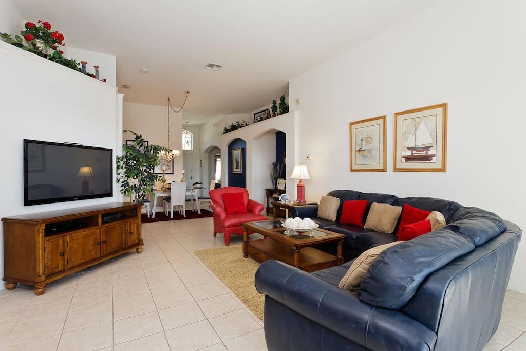 Living area with 50-inch LCD TV, DVD player & Wii