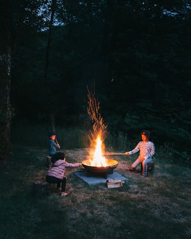 Fire pit (bundles of wood available to purchase on property).