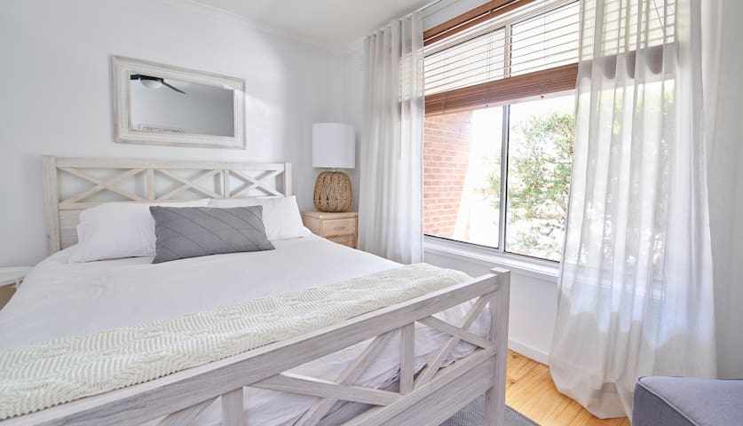 Master bedroom, fresh and peaceful.