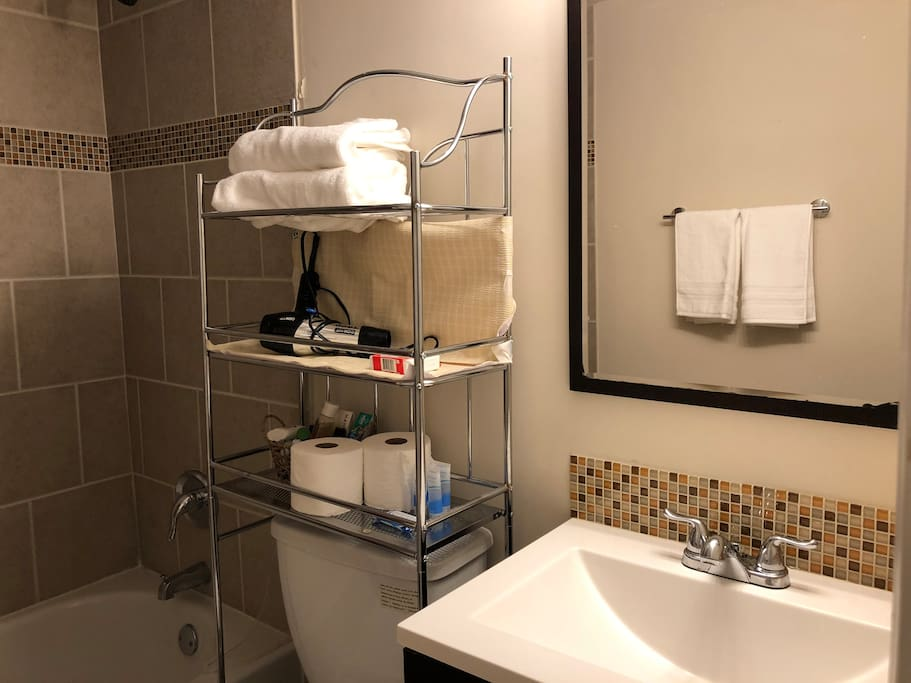 Private bathroom with toiletries, hairdryer, towels!