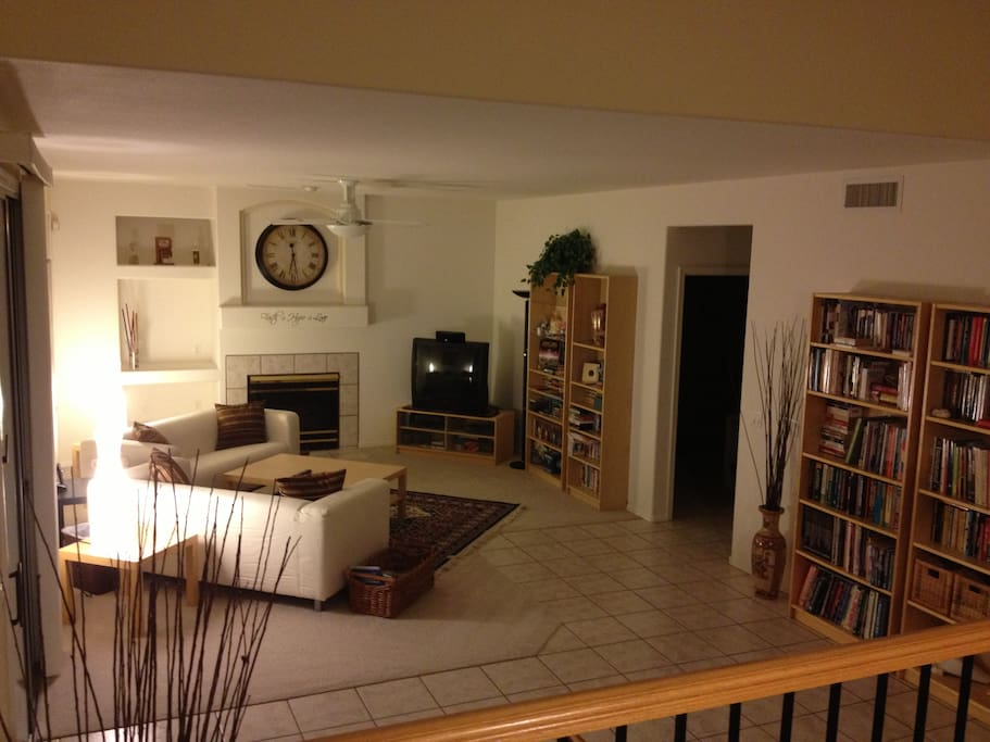 Another view of the family room. Included are family dvds and books on various topics such as home improvement projects, skilled trades, politics, travel, fishing, business, and martial arts.