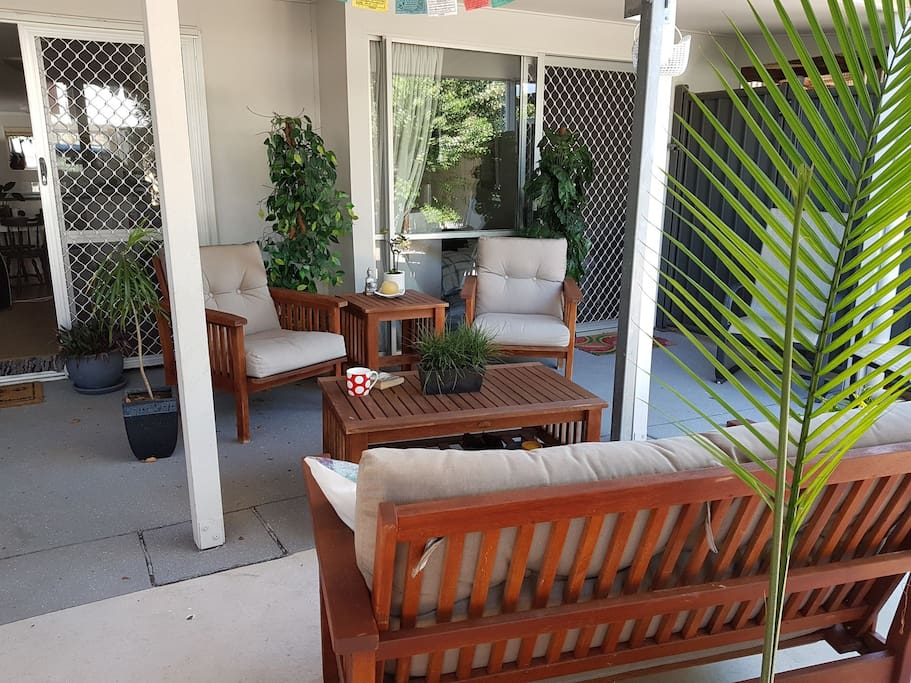 enjoy your morning coffee or a cold afternoon drink in this comfortable out door space.