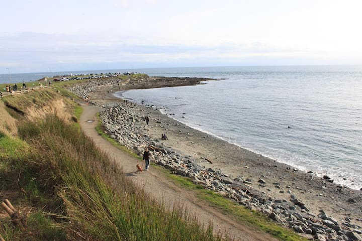 At the end of our street you can stroll left or right along Dallas Road for fabulous mountain and sea views